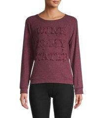 lauren moshi women's raglan-sleeve cotton-blend sweatshirt - sangria - size m
