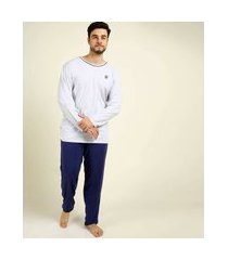 pijama masculino plus size manga longa