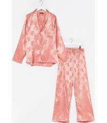 womens flower time to shine satin plus pajama pants set - rose