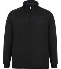 jaqueta parka microfibra com manta e capuz embutido preta