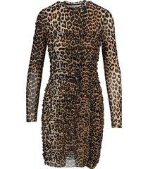 ganni ruched leopard print dress