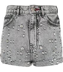 philipp plein studded denim shorts - black