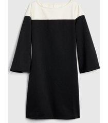 vestido manga larga colorblock mujer negro gap