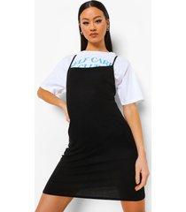 t-shirt met tekst en onderjurk met rug strik, black