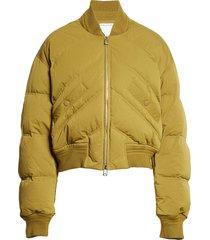 men's bottega veneta crop down puffer jacket, size large - brown