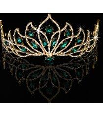 sposa copricapo da cerimonia nuziale in oro verde con strass e cristallo a forma di corona
