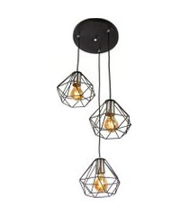 lustre pendente luminária diamante aramado triplo preto
