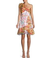 one-shoulder floral dress