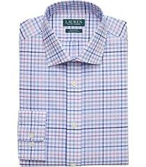 lauren by ralph lauren blue & purple plaid regular fit dress shirt