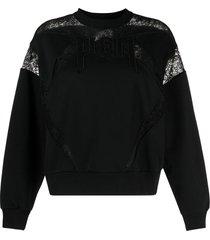 philipp plein lace-panelled logo sweatshirt - black
