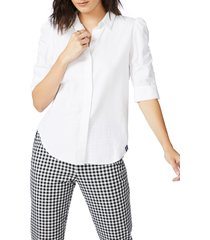 women's court & rowe ruched sleeve button front shirt, size xx-large - white