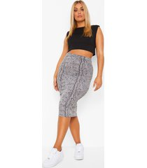 plus slangenprint bodycon midi rok, grey