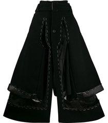 maison margiela layered stitched palazzo trousers - black