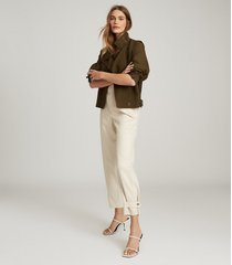 reiss alana - utility jacket in khaki, womens, size 12