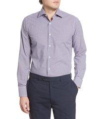 men's canali regular fit check dress shirt, size 15.5 - blue