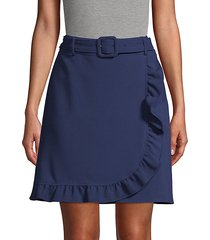 belted faux wrap skirt