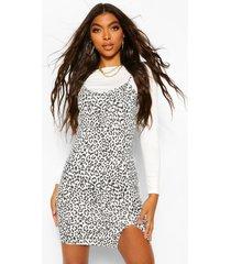 tall leopard print 2-in-1 long sleeve slip dress, ecru