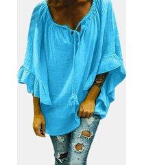 camicetta casual per donna con fasciatura manica lunga a balze tinta unita