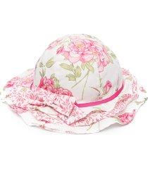 monnalisa rose print bow-embellished hat - white