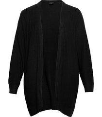 knitted cardigan plus structur long sleeves stickad tröja cardigan svart zizzi