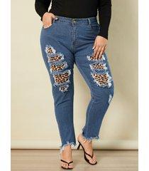 leopardo de talla grande classic cinco bolsillos detalles rasgados al azar jeans