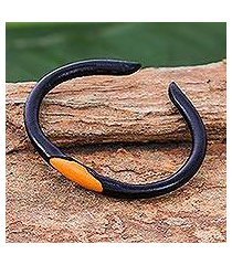 leather cuff bracelet, 'black-orange eye' (thailand)