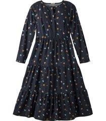 maxi-jurk van bio-katoen met bloemenprint en strokenrok, nachtblauw 46