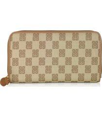 piero guidi designer wallets, beige monogram coated canvas zip-around women's wallet
