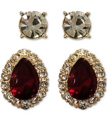 charter club 2-pc. set crystal & stone earrings, created for macy's