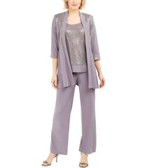 r & m richards sequined layered-look pantsuit