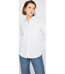 blusa con bajo irregular 100% algodón blanco esprit