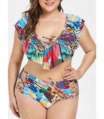 plus size criss cross printed ruffled bikini set