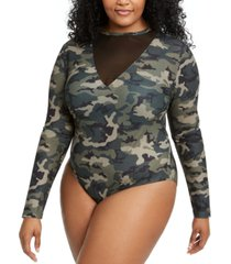 lala anthony trendy plus size mesh-detail slinky bodysuit, created for macy's