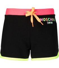 moschino swim stretch-cotton shorts - black