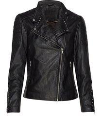 jacket w/studs lange leren jas lange jas zwart depeche