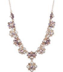 """marchesa gold-tone crystal & imitation pearl cluster lariat necklace, 16"""" + 3"""" extender"""