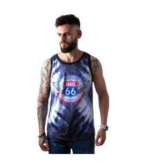 camiseta regata masculina overfame route 66 tie dye md01