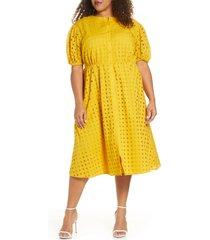 plus size women's eloquii puff sleeve eyelet midi dress