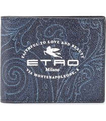 etro logo print wallet - blue
