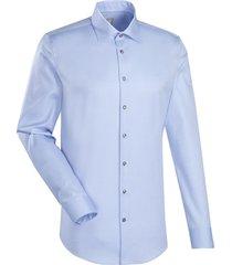 jacques britt heren overhemd licht twill kent custom fit blauw
