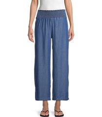 heroes & dreamers women's smocked-waist pants - medium wash - size m