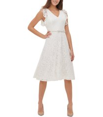 tommy hilfiger belted lace fit & flare dress