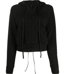 unravel project lace-up cropped hoodie - black