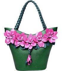 borsa a tracolla stile brenice in pelle con decorazione floreale per le donne