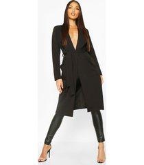 duster jas met utility zakken en ceintuur, zwart