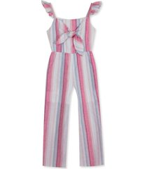 rare editions big girls tie-front striped jumpsuit