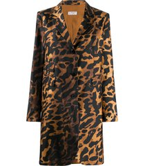 alberto biani animal print midi coat - brown