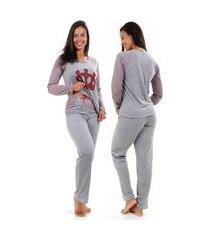 pijama inverno isa lingerie manga longa cinza