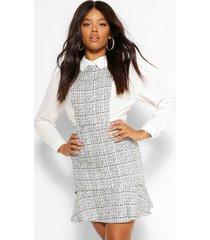 bouclé blouse jurk met losvallende zoom, wit