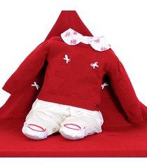 saída de maternidade fofinho macacão e manta tricô vermelho